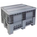 Open top XL plastic container 555L on wheels + top cover
