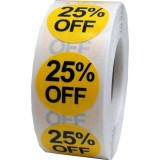 """Anc Series Labels / Stickers """"25% Off"""" (roll of 500)"""
