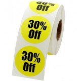 """Anc Series Labels / Stickers """"30% Off"""" (roll of 500)"""