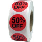 """Anc Series Labels / Stickers """"50% Off"""" (roll of 500)"""