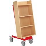 EBL Series Halland Book Trolley, beech, red frame