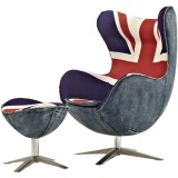 SW Series Egg chair Union Jack w/ blue wool/denim + ottoman